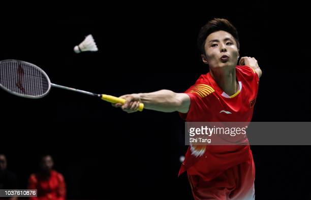 Shi Yuqi of China competes in the Men's Singles semi finals match against Kento Momota of Japan on day four of the China Open at Olympic Sports...