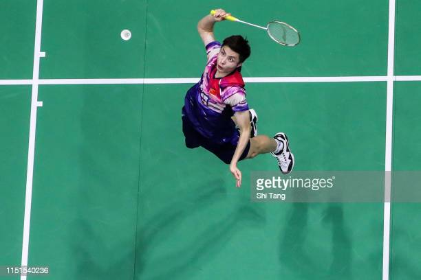 Shi Yuqi of China competes in the Men's Singles semi finals match against Kantaphon Wangcharoen of Thailand during day seven of the Sudirman Cup at...