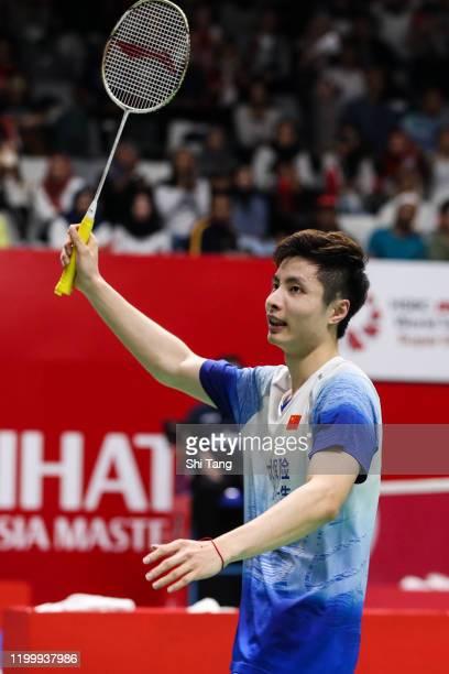 Shi Yuqi of China greets the audience after the Men's Singles second round match against Ng Ka Long Angus of Hong Kong on day three of the Daihatsu...