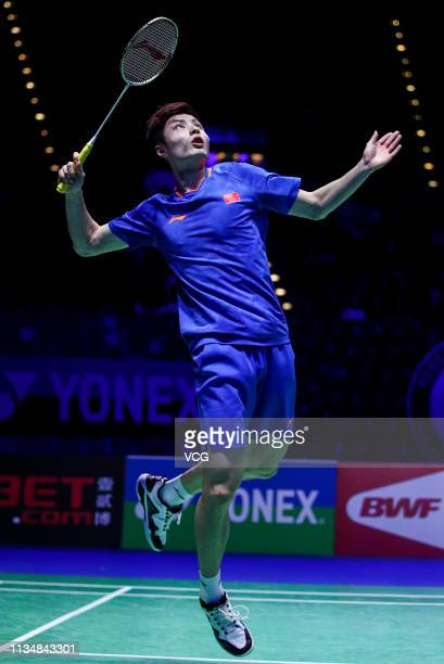 Shi Yuqi of China in action during the Men's Singles Semifinal match against Viktor Axelsen of Denmark on day four of the YONEX 2019 All England Open...