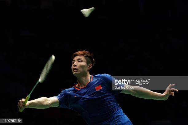 Shi Yuqi of China in action on day five of the Badminton Malaysia Open at Axiata Arena on April 06, 2019 in Kuala Lumpur, Malaysia.