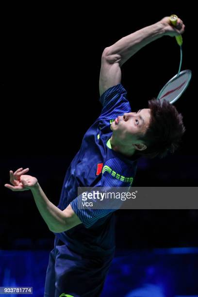 Shi Yuqi of China reacts during the Men's singles final match against Lin Dan of China on day five of the YONEX All England Open 2018 Badminton...