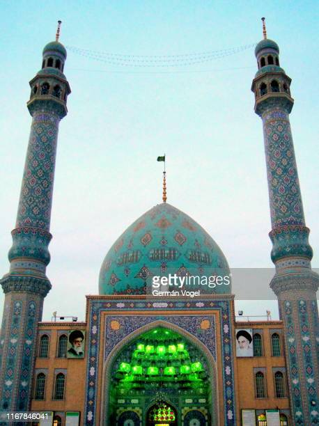 shia islam sacred site: jamkaran mosque for awaited messiah imam mahdi - qom, iran - jamkaran mosque stock pictures, royalty-free photos & images