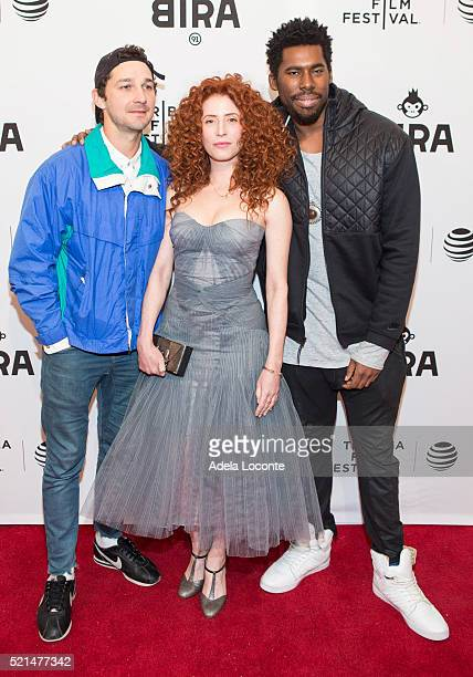 Shia LaBeouf Alma Har'el and Flying Lotus attend LoveTrue Premiere during the 2016 Tribeca Film Festival at SVA Theatre on April 15 2016 in New York...