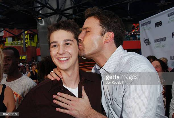 Shia LaBeouf and Ben Affleck during World Premiere Of 'The Battle Of Shaker Heights' Arrivals at Universal Citywalk Theatres in Universal City...