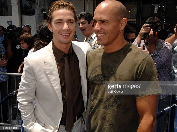 Shia Labeouf and Kelly Slater during 'Surf's Up' Los Angeles Premiere Red Carpet at Mann Village Theater in Westwood California United States