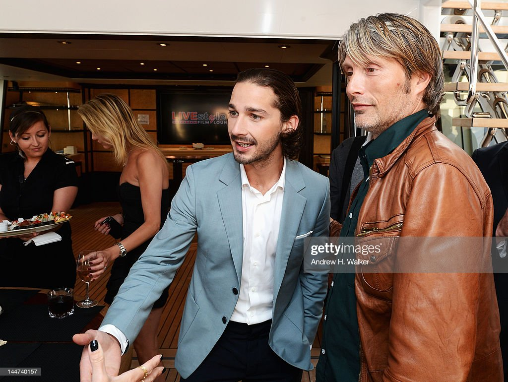 Shia LaBeouf and Mads Mikkelsen attend the Voltage Pictures sales party for 'Necessary Death of Charlie Countryman' with Stella Artois and Belvedere aboard M/Y Harle during the 65th Annual Cannes Film Festival on May 18, 2012 in Cannes, France.