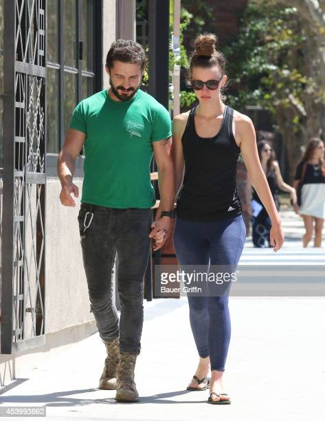 Shia LaBeouf and Mia Goth are seen on August 22 2014 in Los Angeles California