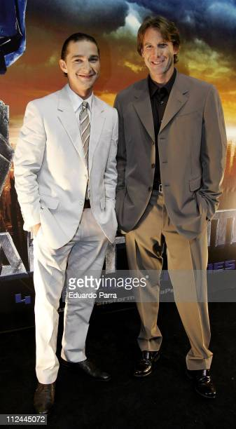 Shia LaBeouf and Michael Bay during 'Transformers' Madrid Premiere at Negone in Madrid Spain
