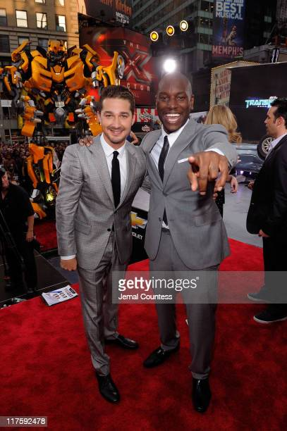Shia LaBeouf and Tyrese Gibson attend the New York premiere of 'Transformers Dark Of The Moon' in Times Square on June 28 2011 in New York City