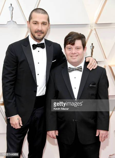 Shia LaBeouf and Zack Gottsagen attend the 92nd Annual Academy Awards at Hollywood and Highland on February 09 2020 in Hollywood California