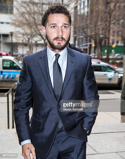 Shia LaBeouf arrives at Manhattan Criminal Court on March 20 2015 in New York City