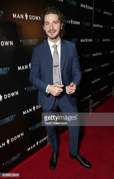 Shia LaBeouf attends the Premiere Of Lionsgate Premiere's 'Man Down' at ArcLight Hollywood on November 30 2016 in Hollywood California