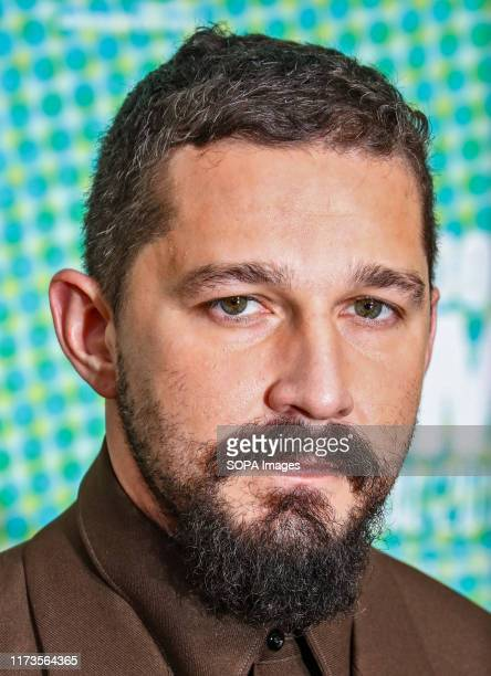 Shia LaBeouf attends the premiere of The Peanut Butter Falcon as part of the BFI London Film Festival at Odeon Luxe Leicester Square in London