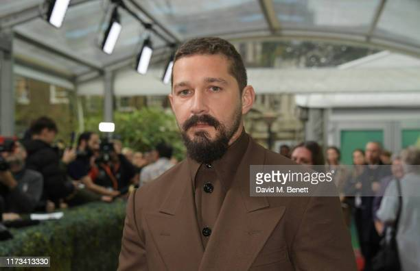 """Shia LaBeouf attends the UK Premiere of """"The Peanut Butter Falcon"""" during the 63rd BFI London Film Festival at Embankment Gardens Cinema on October..."""
