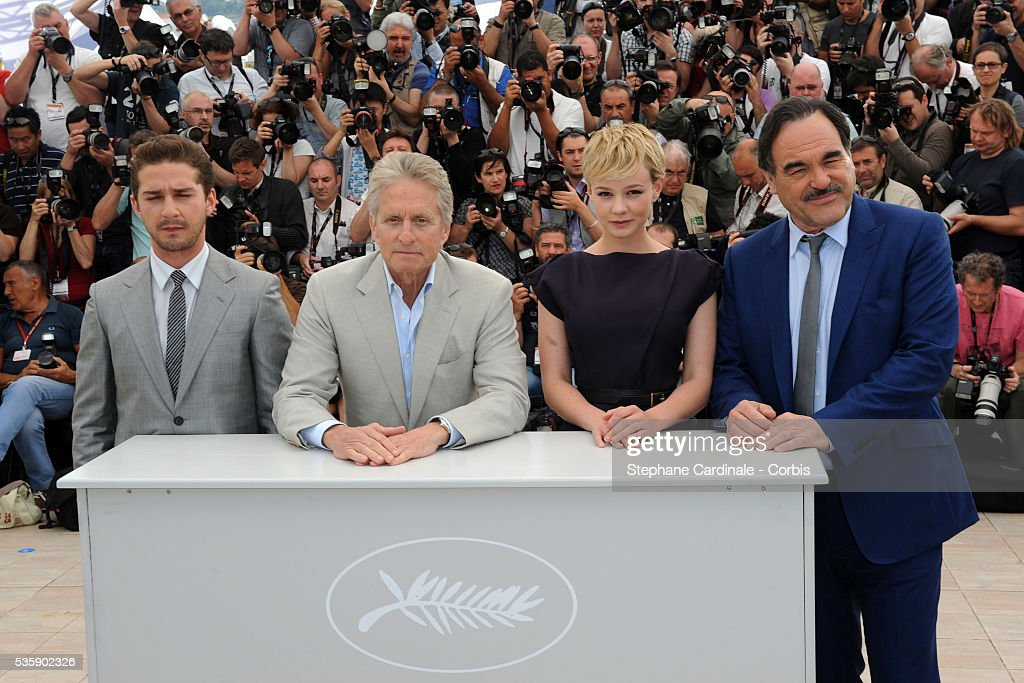 Shia LaBeouf, Carey Mulligan, Michael Douglas, Oliver Stone at the photocall for 'Wall street : Money never sleeps' during the 63rd Cannes International Film Festival.