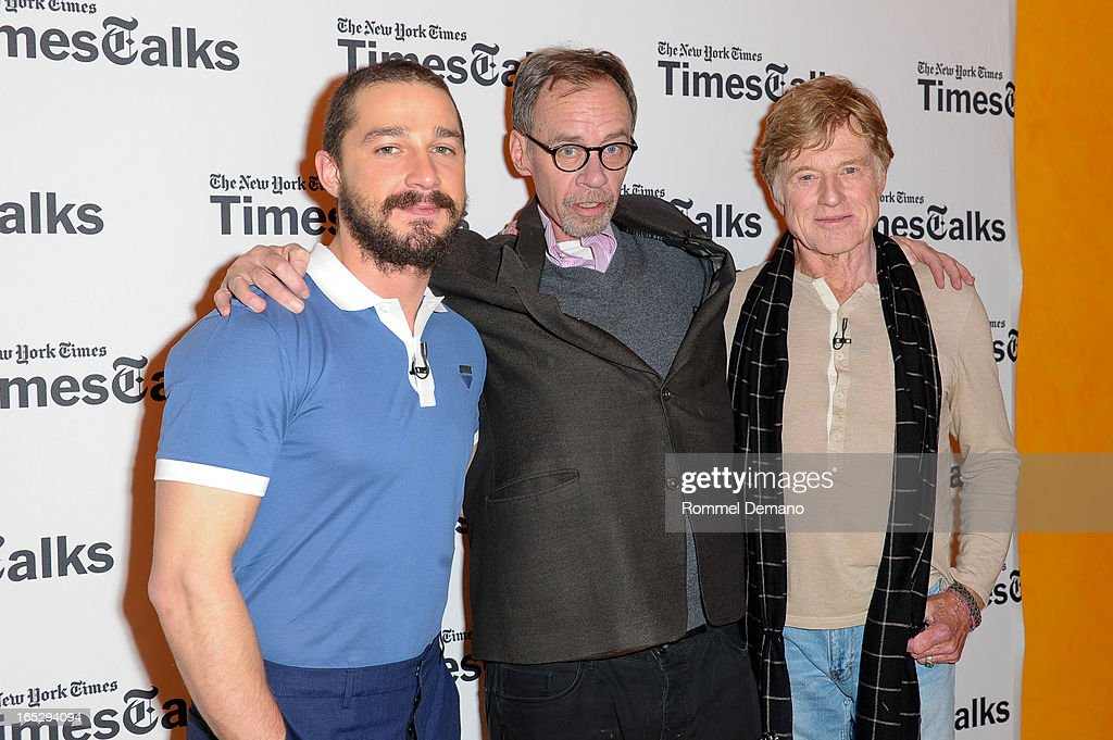 Shia LaBeouf, David Carr and Robert Redford attend the TimesTalks Presents: 'The Company You Keep' at TheTimesCenter on April 2, 2013 in New York City.