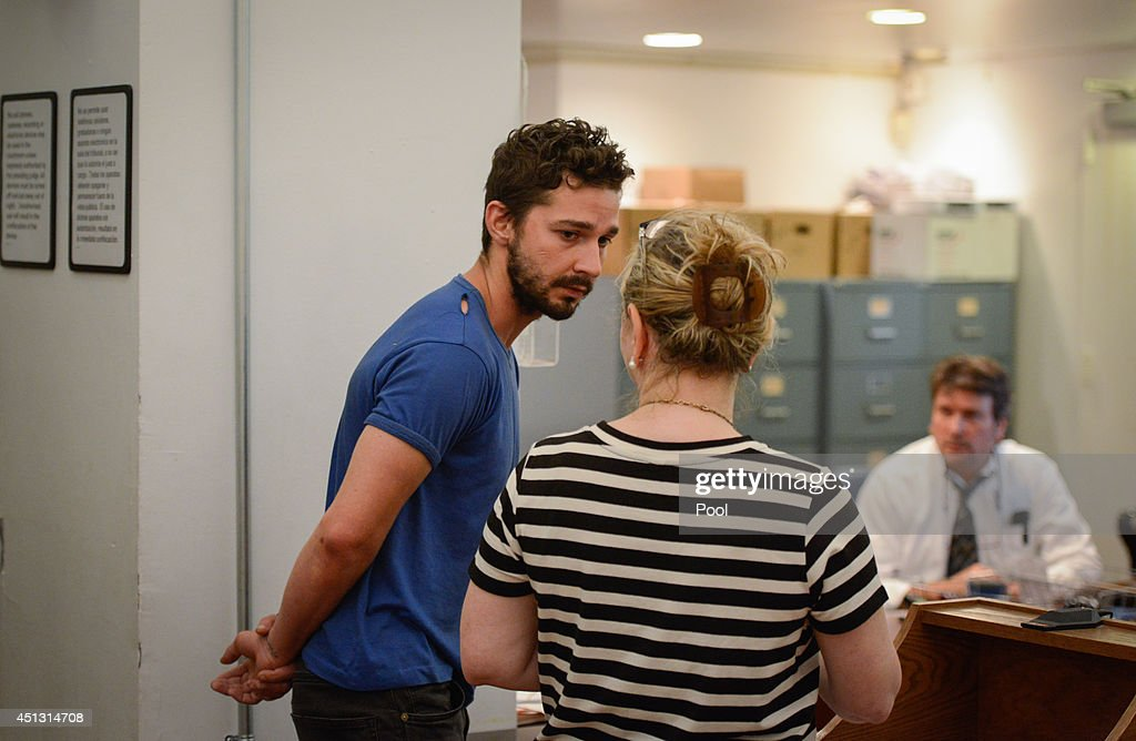 Shia LaBeouf (L), is arraigned in Midtown Community Court, on June 27, 2014 in New York City. The actor is charged with harrassment, disorderly conduct and criminal trespass following an incident during the show' 'Cabaret' Thursday night.