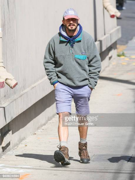 Shia LaBeouf is seen arriving at 'Jimmy Kimmel Live' on April 12 2018 in Los Angeles California