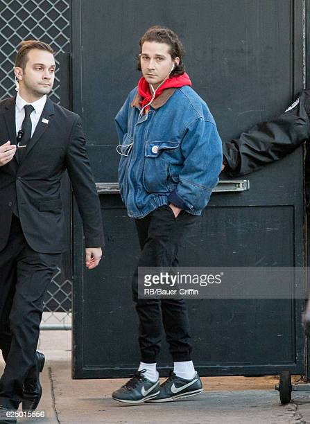 Shia LaBeouf is seen at 'Jimmy Kimmel Live' on November 21 2016 in Los Angeles California