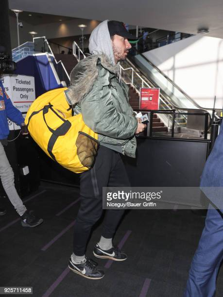 Shia LaBeouf is seen at Los Angeles International Airport on February 28 2018 in Los Angeles California