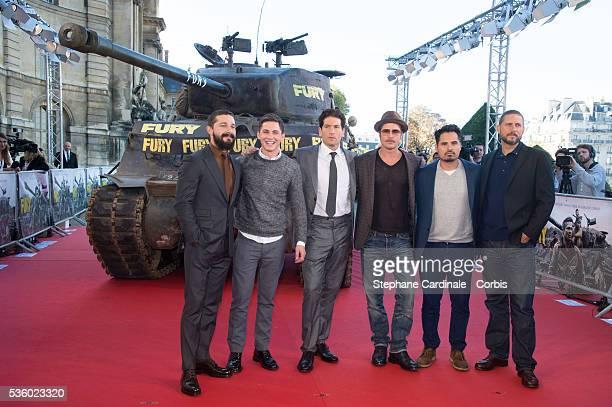 Shia Labeouf, Logan Lerman, Jon Bernthal, Brad Pitt, Michael Pena and Director David Ayer attend the 'Fury' Photocall at Les Invalides on October 18,...