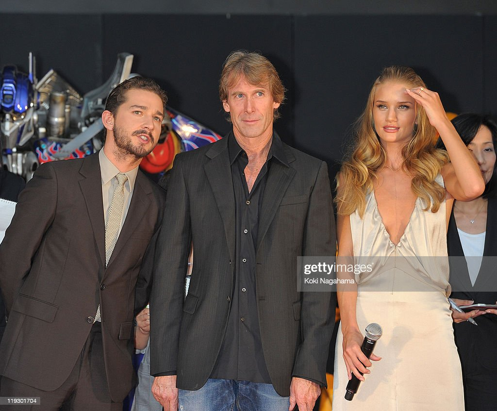 Shia LaBeouf, Michael Bay and Rosie Huntington-Whiteley during the 'Transformers: Dark of the Moon' stage greeting at Osaka Station City Cinema on July 16, 2011 in Osaka, Japan. The film will open on July 29 in Japan.