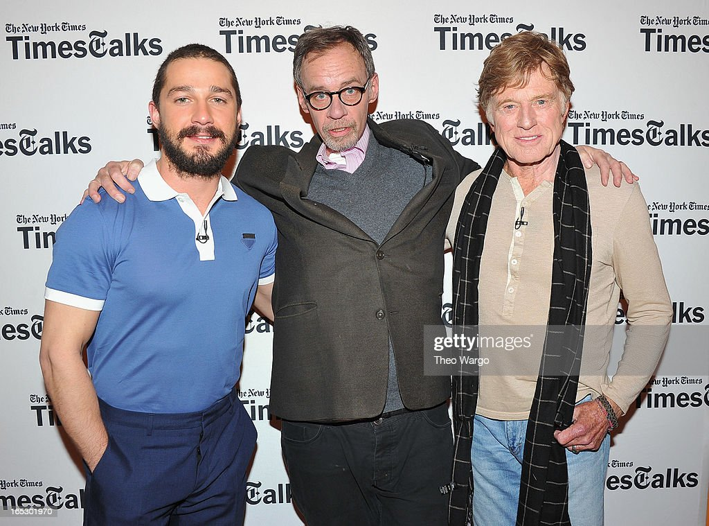 Shia LaBeouf, New York Times media columnist David Carr and Robert Redford attend TimesTalks Presents: 'The Company You Keep' at TheTimesCenter on April 2, 2013 in New York City.