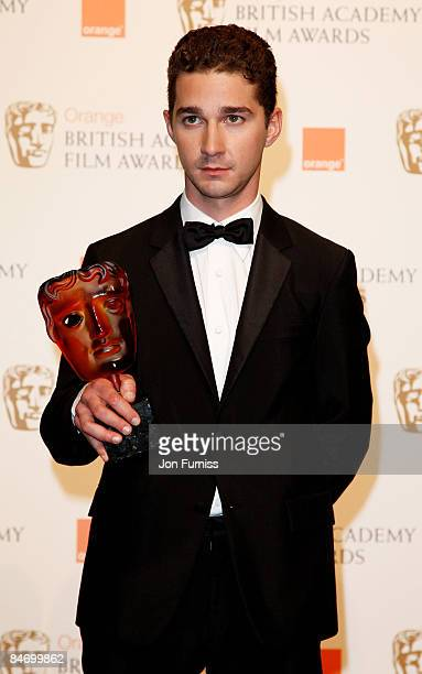 Shia LaBeouf poses at the winner's board at The Orange British Academy Film Awards held at the Royal Opera House on February 8 2009 in London England