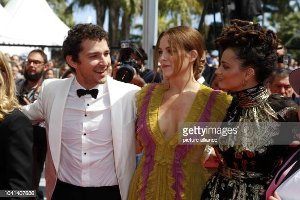 Shia LaBeouf Riley Keough and Sasha Lane attend the premiere of 'American Honey' during the 69th Annual Cannes Film Festival at Palais des Festivals...
