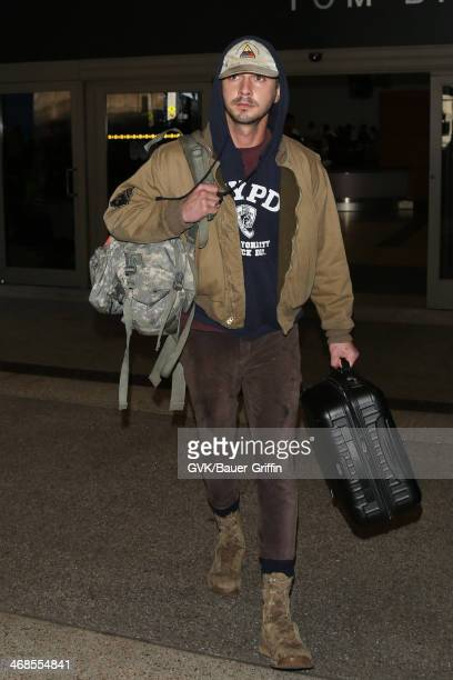 Shia LaBeouf seen at LAX airport on February 10 2014 in Los Angeles California