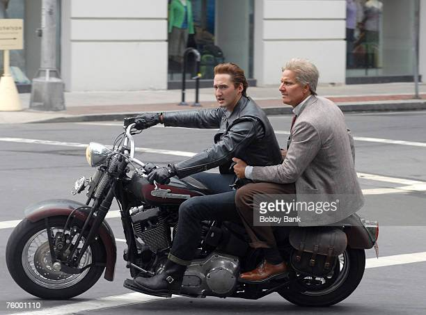 Shia LaBeouf stunt double and Harrison Ford stunt double riding a motorcycle during filming of the latest Indiana Jones movie at Yale University...