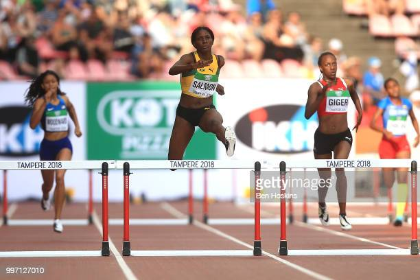 Shiann Salmon of Jamaica jumps during heat 2 of the women 400m semi final on day three of The IAAF World U20 Championships on July 12 2018 in Tampere...