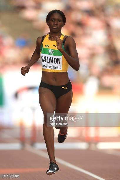 Shiann Salmon of Jamaica runs during heat 2 of the women 400m semi final on day three of The IAAF World U20 Championships on July 12 2018 in Tampere...