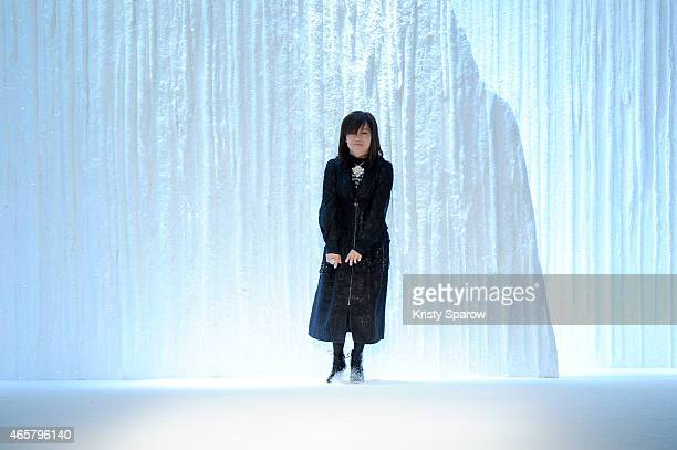 Shiatzy Chen acknowledges the audience during the Shiatzy Chen show as part of Paris Fashion Week Womenswear Fall/Winter 2015/2016 at Le Grand Palais...