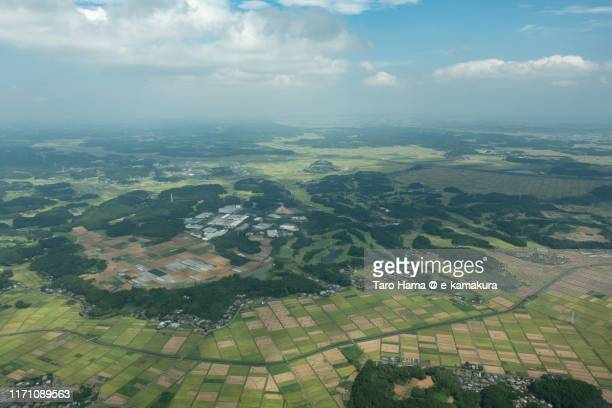 shibayama and tako towns in chiba prefecture of japan daytime aerial view from airplane - 千葉県 ストックフォトと画像