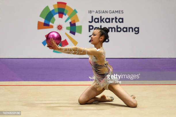 Shibayama Ruriko of Japan competes during Rhythmic Gymnastics Team AllAround final on day nine of the Asian Games on August 27 2018 in Jakarta...