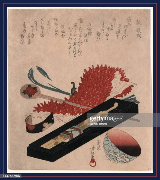 Shibori kanzashi benichoku, Shibori, hairpin, and lip color bowl., Horai, Hidenobu, active 1805-1825, artist, [between 1818 and 1830, printed later],...