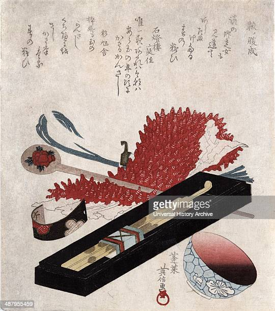 Shibori kanzashi benichoku : Shibori, hairpin, and lip colour bowl. By Hidenobu Horai, active 1805-1825, painted between 1818 and 1830. Still life...