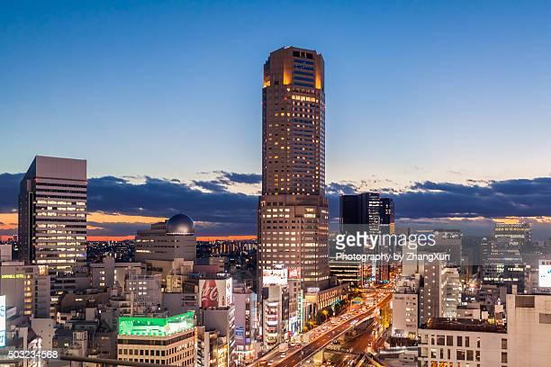 Shibuya aerial view at night, Tokyo, Japan.
