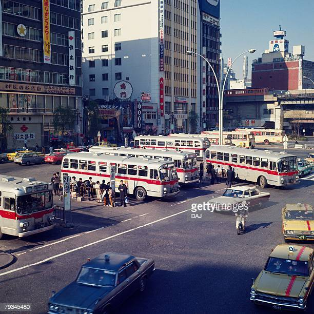 shibuya bus station in showa - showa period stock pictures, royalty-free photos & images