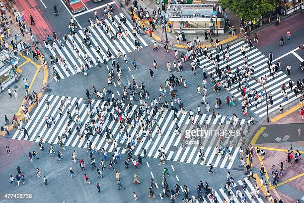 shibuya crossing aerial - crossroad stock pictures, royalty-free photos & images
