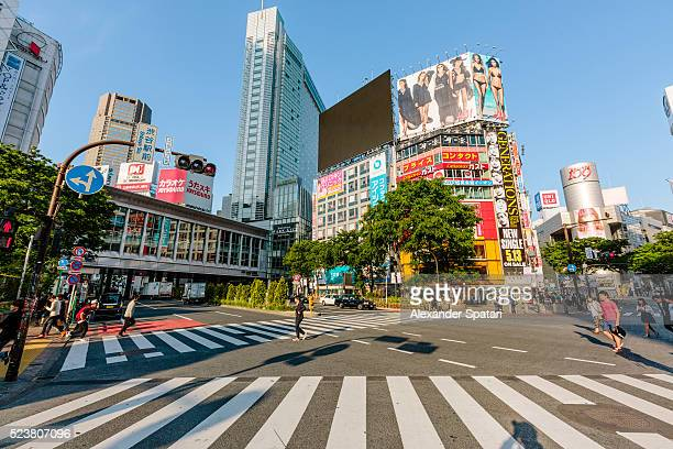 Shibuya crossing in the morning on a sunny day, Tokyo, Japan