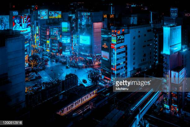 shibuya crossing in the night - nightlife stock pictures, royalty-free photos & images