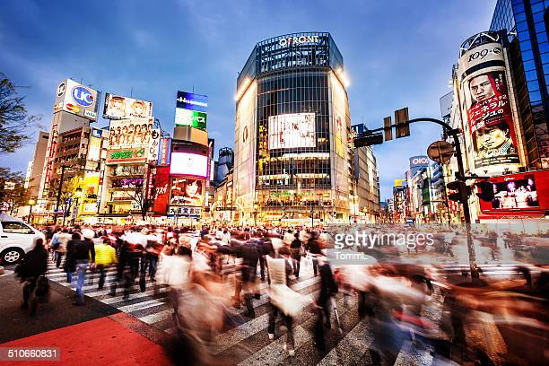 shibuya crossing in tokyo, japan - tokyo japan stock pictures, royalty-free photos & images