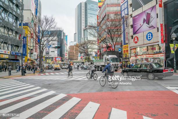 shibuya crossing, tokyo japan - busy sidewalk stock pictures, royalty-free photos & images