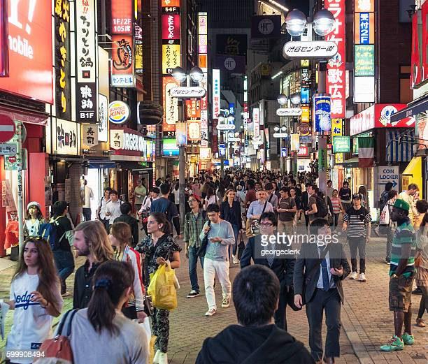 Shibuya crowds at night