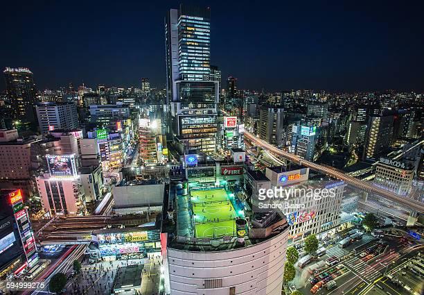 shibuya hikarie skyline at night - shibuya ward stock pictures, royalty-free photos & images