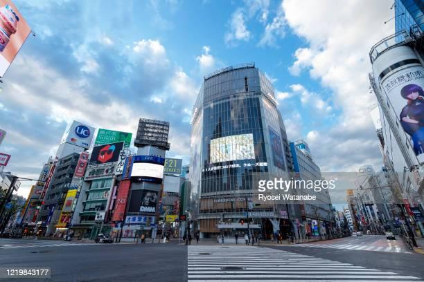 shibuya scramble crossing - shibuya ward stock pictures, royalty-free photos & images