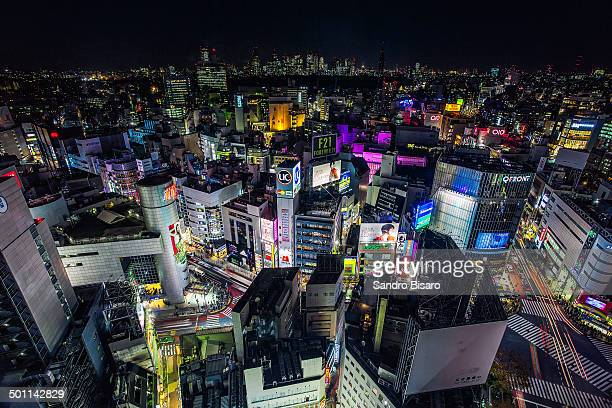 Shibuya skyline at night aerial view